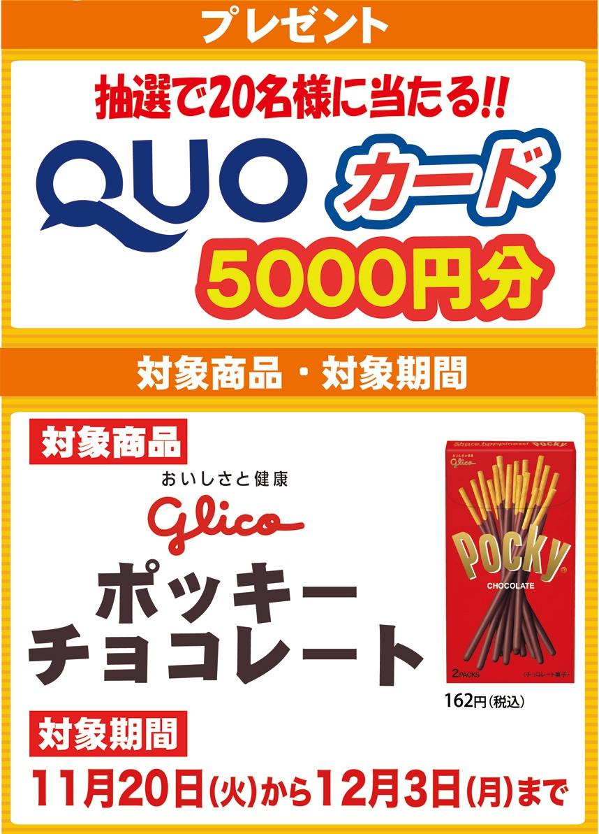 抽選で20名様に当たる!!QUOカード5000円分